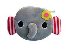 Plüschiger Kindergeldbeutel / Kinderportemonnaie (Münzbörse) mit süßem Elefantenmotiv (Elefanten-Baby als 3D Animal Print) inkl. flauschigen Ohren, Nase und Blümchen (mit Reißverschluss) (Grau)