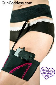 """""""I purchased the thigh/garter holster and belt. The most comfortable holster I own. Very concealable, even when wearing slacks ( wear it with elastic waist band slacks, still able to draw pistol just takes practice like everything else). Highly recommend it! Works wonderfully with dresses!"""" ~ Martha"""