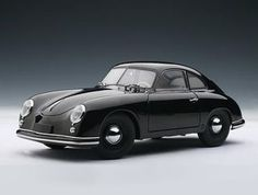This Porsche 356 Coupe `Ferdinand` Diecast Model Car is Black and features working steering, suspension, wheels and also opening bonnet with spare wheel, boot with engine, doors. It is made by AUTOart and is scale (approx. Classic Sports Cars, British Sports Cars, Classic Cars, Porsche Sports Car, Porsche Models, Porsche Cars, Ferdinand Porsche, Bugatti, Maserati