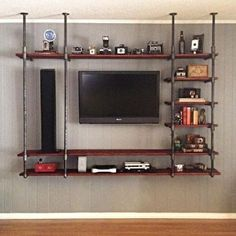 Best Industrial Pipe Furniture Designs for A Cool and Chic Home Decor (20) Entertainment Shelves, Entertainment Center Wall Unit, Entertainment Furniture, Industrial Entertainment Center, Diy Home Decor Rustic, Natural Home Decor, Industrial Shelving, Industrial House, Industrial Style