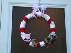 Christmas Yarn Wreath Customizable colors & decor by HunniCrafts, $40.00
