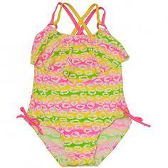 f01a5b9dd 2B Real Big Girls Yellow Pink Diffuse Stripe Spot One Piece Swimsuit 7-16