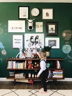 The chalkboard wall was a hit! Every time kids come over, that's the first thing they rush to do. And I am obsessed with the color. I am having a love affair with green lately and this did ju… Boys Room Decor, Kids Bedroom, Bedroom Decor, Baby Boy Rooms, Baby Room, Kids Rooms, Deco Kids, Time Kids, Green Rooms