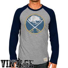 Original Retro Brand Buffalo Sabres Raglan Long Sleeve T-Shirt - Ash