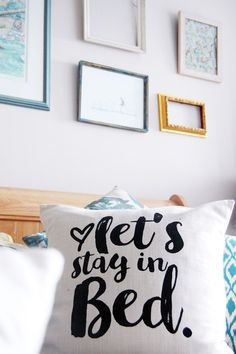 This cute pillow you make with an iron-on template: | 28 Cozy Things You Need For Your Bedroom