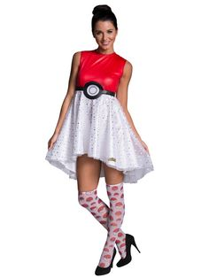 Check out Women's Pokeball Dress Costume - Wholesale Board & Video Games… Best Group Halloween Costumes, Family Costumes, Halloween Fancy Dress, Halloween Kostüm, Adult Costumes, Costumes For Women, Pokemon Halloween, Fun Costumes, Halloween Outfits