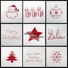 tiles + vinyl=Christmas coasters