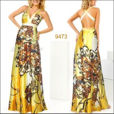 V-neck Yellows Floral Printed Cross Back Sexy Long Evening Gown 09473YL