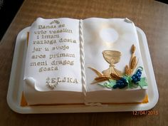 Zrinka Norac Boy Communion Cake, First Holy Communion Cake, Computer Cake, Bible Cake, First Communion Decorations, Religious Cakes, Confirmation Cakes, Cake Stencil, Book Cakes