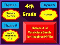 Cloze Worksheet Half Year Package for Houghton Mifflin Harcourt Fourth Grade, Themes 4-5-6