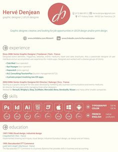 Great resume style that is unique and bold.   Creative Resume Design, Resume Style, CV, Curriculum Vitae  Resume by Hervé Denjean, via Behance