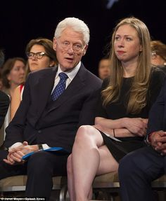 A glum Chelsea attends the closing session of Clinton Global Initiative with her father, former president Bill Clinton