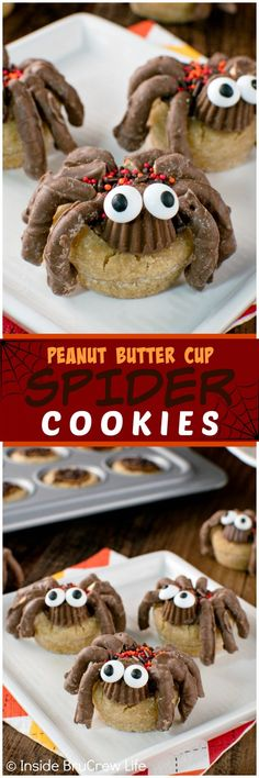 Peanut Butter Cup Spider Cookies - adding sprinkles, candies, eyes, and pretzels turn this cookie recipe into a creepy Halloween treat!