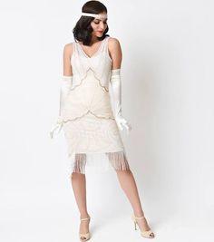 55fcfc818a34 flapper dress white cream Gatsby Wedding Dress, Art Deco Wedding Dress, Vintage  Style Wedding