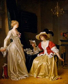 ''The Reader, by Marguerite Gerard (painted with Jean-Honoré Fragonard), The attenuated elegance of the girl on the left hints at the classical fashions to come. Francisco Goya, Rococo Painting, Jean Antoine Watteau, Jean Honore Fragonard, Thomas Gainsborough, Art Ancien, 18th Century Fashion, Classic Paintings, Woman Reading