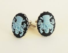 Steampunk Guns & Roses Cuff Links- Blue On Black from etsy... LOVE these!!
