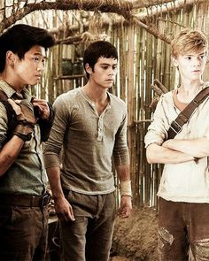 Ki Hong Lee, Dylan O'Brien and Thomas Brodie-Sangster in The Maze Runner