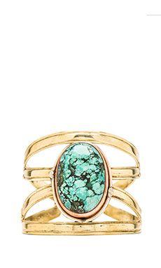 Natalie B Jewelry X Cuff in Turquoise   REVOLVE