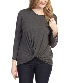 Love this Charcoal Twist-Front Top by Lark & Marwood on #zulily! #zulilyfinds