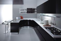 kitchen black white countertops