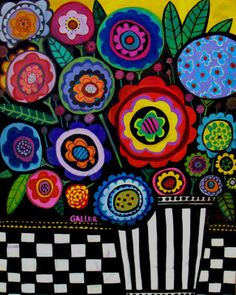 flowers, abstract, heather galler, folk art Painting at ArtistRising.com