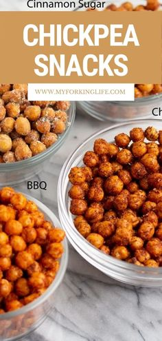 Looking for an easy and healthy food for snacktime? You wont even miss the chips after you taste these air fryer chickpeas! There is something for everyone with four different flavor options. Try the BBQ, Ranch, Cinnamon Sugar, or Chili Lime! Yummy Snacks, Healthy Snacks, Yummy Food, Healthy Recipes, Unique Recipes, Quick Recipes, Dog Food Recipes, Chickpea Snacks, Chickpea Recipes
