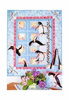 Penguin Plunge applique quilt pattern by Java House Quilts designed by Karen Brow. Playful penguins are turning and flipping around the quilt. Use the leftover blocks, border strips and fabric to make a coordinating Tote bag. | eBay!