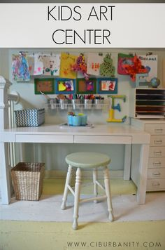 Kids art center with thrifted items and inexpensive storage ideas