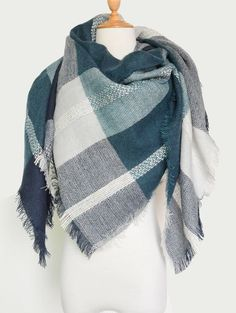 Knit Blanket Scarf with Fringed 10.99 USD