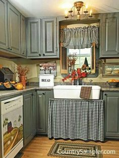 Kitchen Sink Appealing Country Kitchen with Rustic Touches - Farmhouse kitchen sink ideas that will make your fall in love with your kitchen again. See all the best designs that will help inspire you! Farmhouse Style Kitchen Curtains, Farmhouse Sink Kitchen, New Kitchen, Kitchen Art, Farm Sink, Kitchen Furniture, Kitchen Sinks, Kitchen Islands, Kitchen Layout