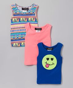 Look at this Freestyle Revolution Coral & Blue Smiley Tank Set - Girls on #zulily today!