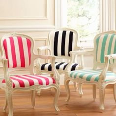 Love the stripes, would so love to get into re-upholstering...!!