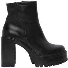 Strategia Women 90mm Platform Leather Ankle Boots (3,530 BOB) ❤ liked on Polyvore featuring shoes, boots, ankle booties, black, platform booties, leather booties, black bootie, black leather ankle booties and black leather booties