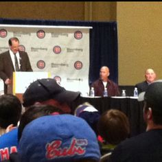 """""""Coaches Den"""" session at 2012 Cubs Convention in International Ballroom at Hilton Chicago. Bob Brenly hosted panel that included new manager Dale Sveum. The session largely consisted of asking what will be done with players that aren't giving 100% on the field (Translation: Soriano) . Fans are assured that Sveum is the new sheriff in town."""