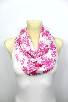 Pink Infinity Floral Scarf - Women Fashion Accessories - Fabric Circle Scarf -  Unique Boho Shawl - Printed Scarf - Gift Idea for Mom