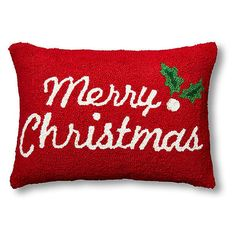 Merry Christmas 14x20 Wool Pillow Decorative Pillows (130 PEN) ❤ liked on Polyvore featuring home, home decor and red home decor