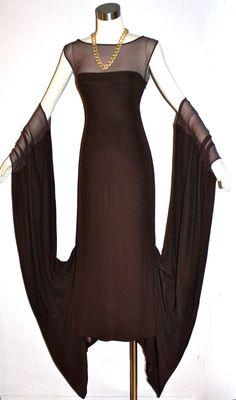 Vintage Jean Paul GAULTIER FEMME Dress Brown Sheer Draped Crepe Chiffon Gown