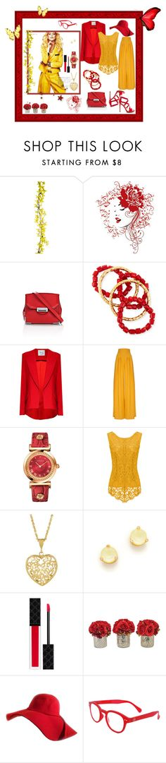 """Red & Yellow"" by cayla-dy ❤ liked on Polyvore featuring Alexander Wang, NEST Jewelry, Versace, Kate Spade, Gucci and See Concept"