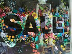 Closet Markdown Sale Huge 3 Day Markdown Sale until Midnight PST The More the Merrier! Window Stickers, Window Decals, Retail Windows, Store Windows, Sale Signage, Window Mural, Store Window Displays, Chalk Markers, Chalkboard Art