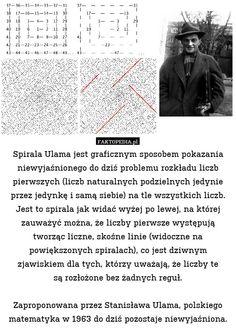 Spirala Ulama jest graficznym sposobem pokazania niewyjaśnionego do dziś – Spirala Ulama jest graficznym sposobem pokazania niewyjaśnionego do dziś problemu rozkładu liczb pierwszych (liczb naturalnych podzielnych jedynie przez jedynkę i samą siebie) na tle wszystkich liczb. Jest to spirala jak widać wyżej po lewej, na której zauważyć można, że liczby pierwsze występują tworząc liczne, skośne linie (widoczne na powiększonych spiralach), co jest dziwnym zjawiskiem dla tych, którzy uważają, że…