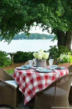 Red Fish, Blue Fish Summer Lakeside Table with vintage minnow bucket vase centerpiece! | homeiswheretheboatis.net