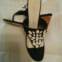 White House Black Market shoes Eye-catching, white and black beaded wedges. Laquered cor wedge. Excellent condition. White House Black Market Shoes Wedges