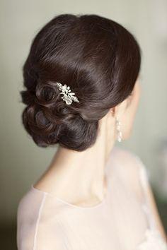 Elegant hair, jeweled clip.