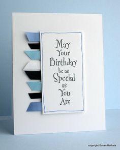 Simplicity: Using Ribbon Scraps - great idea for cards for the men in your life Ribbon Cards, Paper Cards, Cool Cards, Diy Cards, Men's Cards, Happpy Birthday, Tarjetas Diy, Karten Diy, Birthday Cards For Men