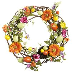 Bright Colors & Speckled Eggs wreath