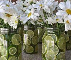 Mason jars and sliced limes as spring style flower vase!