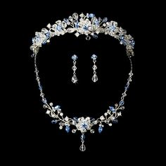 Light Blue Crystal Wedding Tiara and Jewelry Set - beautiful for Spring! Affordable Elegance Bridal -