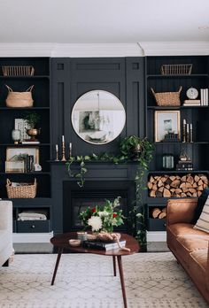 bold accent wall, dark moody living room, natural living room What is Decoration? Decoration is the art of decorating the … Dark Living Rooms, Home Living Room, Living Room Designs, Living Room Decor, Small Living, Cozy Living, Apartment Living, Alcove Ideas Living Room, Decor Room