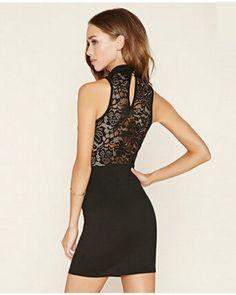 Elegant black lace tank dress for women long tank tops keyhole design