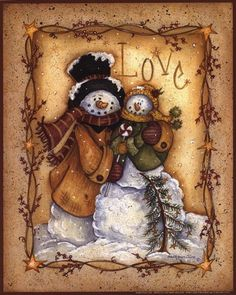 """Snow Folk Love, Art Print by Mary Ann June, Extra Small (paper size 8"""" x 10"""")"""
